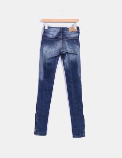 Pantalon denim efecto destenido
