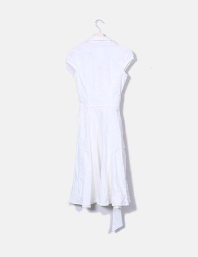 Vestido midi blanco manga corta