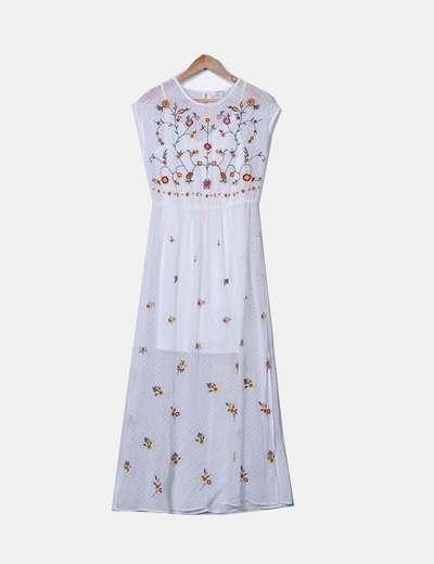 Vestido maxi branco com bordados estampado floral C&A