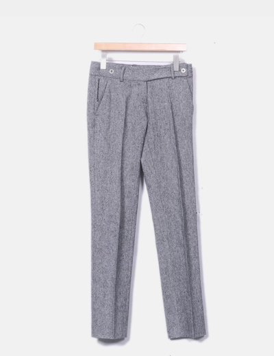 Pantalón chino de paño gris jaspeado