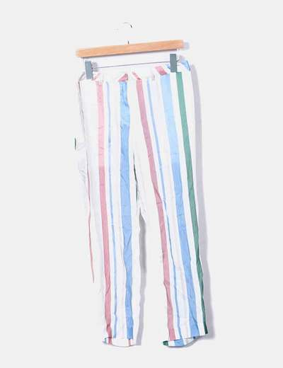Pantalón satén rayas multicolor