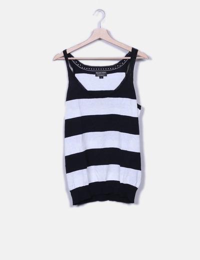 T-shirt blanc et noir tricot Ralph Lauren