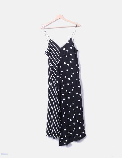 Maxi vestido negro estampado Mango