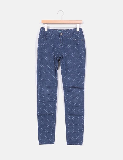 Pantalon denim azul petroleo con topos