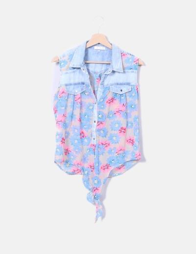 Camisa de manga floral manga combinada Coconut