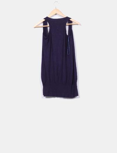 Chaleco tricot azul marino