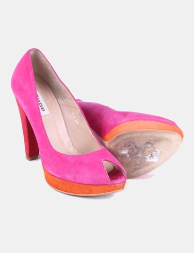 Zapato tricolor peep toe