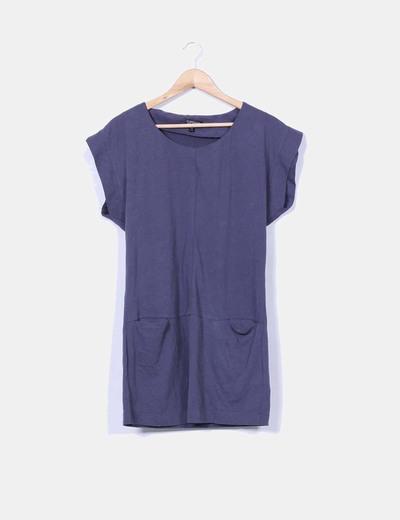 Robe bleue à poches Topshop