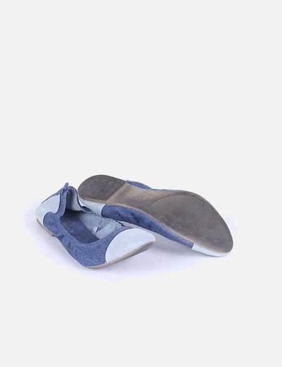 Bailarinas demin bicolor con goma interior