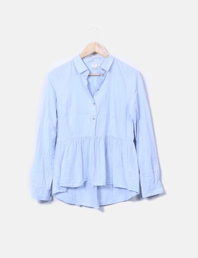 Camisa azul con volante y botones Jacqueline de Yong