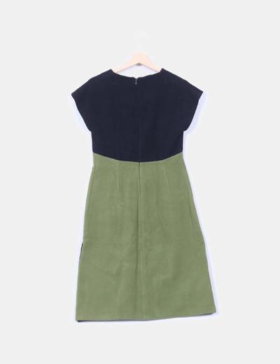 Vestido tricolor de lana