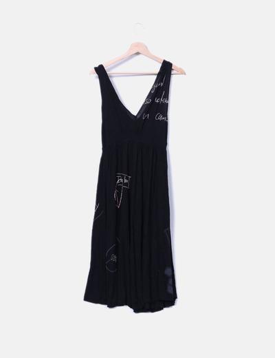Vestido negro tirante ancho