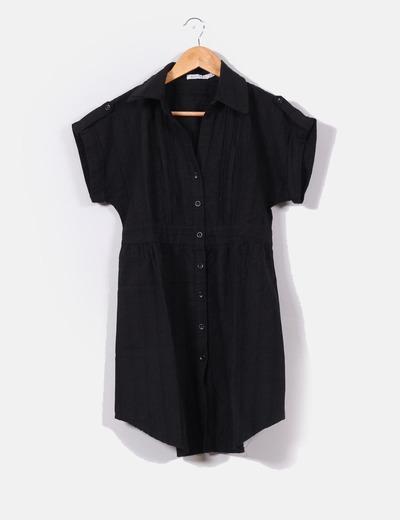Vestido camisero texturizado  negro  Bershka