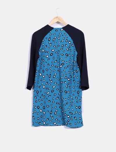 Vestido animal print azul combinado