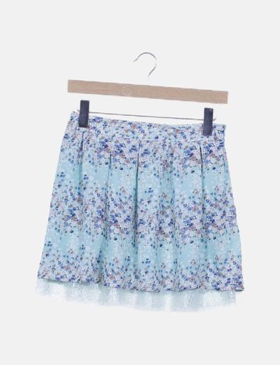 Mini falda azul fluida print floral