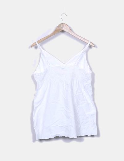 Blusa blanca tirantes con goma