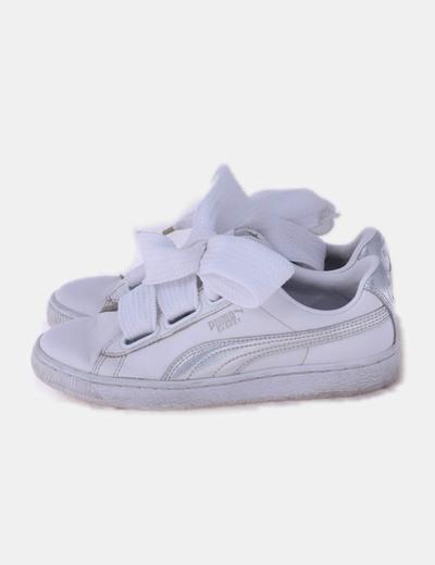 Puma basket blanca y plata
