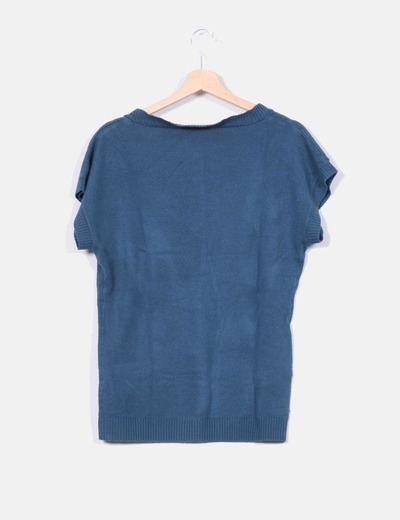Jersey azul petroleo cuello pico