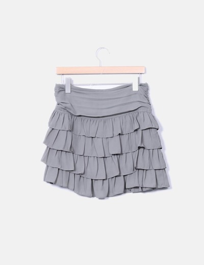 Mini chiffon khaki skirt with ruffles Pimkie