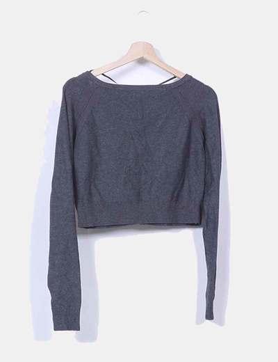 Chaqueta tricot mini gris marengo