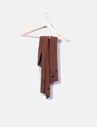 Bufanda marrón con bordado floral Romanelli