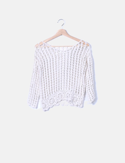 Top crochet blanco