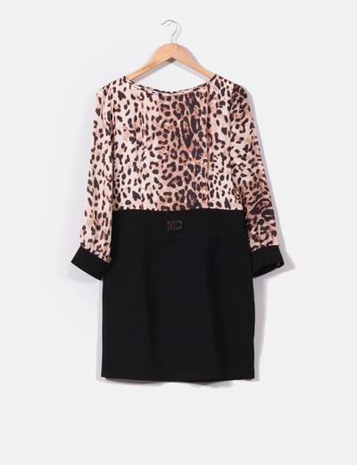 Vestido falda negra con blusa animal print Modaland