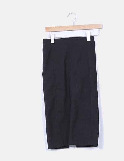 Falda midi negra texturizada Lefties