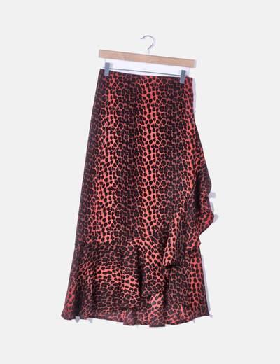 Falda maxi animal print rojo con volante