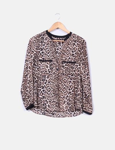 Camisa satén animal print Zara