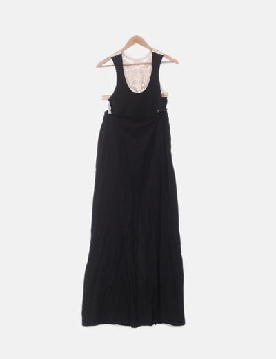 Vestido maxi negro combinado crochet