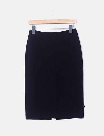 Falda negra midi lisa
