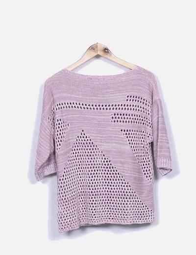 Jersey de punto rosa jaspeado