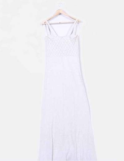 Maxi vestido beige punto fino