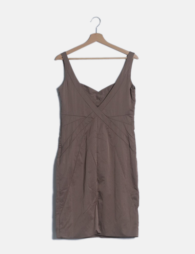 Vestido midi marrón satinado