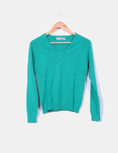 Jersey verde cuello pico Zara