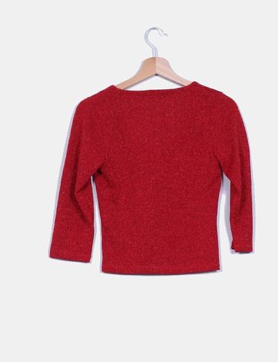 Tricot rojo con brillos escote en pico