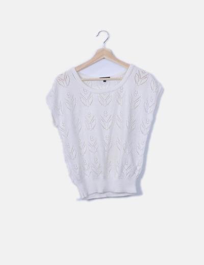 Jersey tricot blanco calado