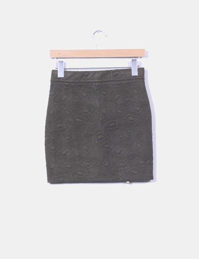 Mini falda verde texturizada detalle cremallera dorada