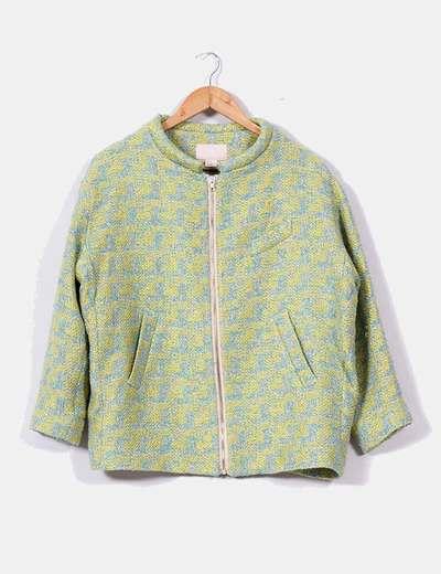 Chaqueta estilo rafia verde y azul H&M