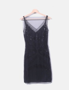 9c97371aa47 Vestido tul negro con paillettes H M