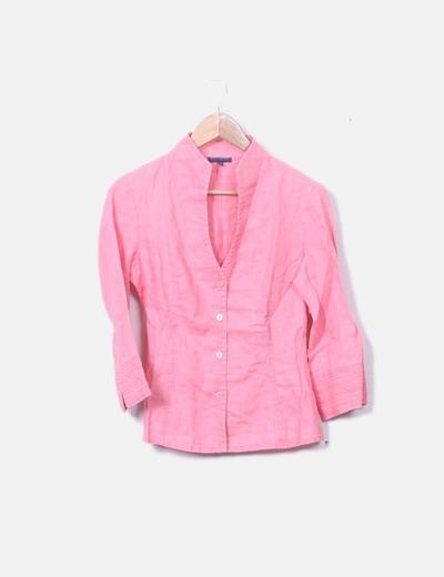 Camisa rosa cuello pico