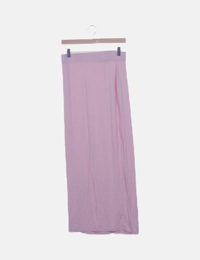 Falda tricot rosa maxi