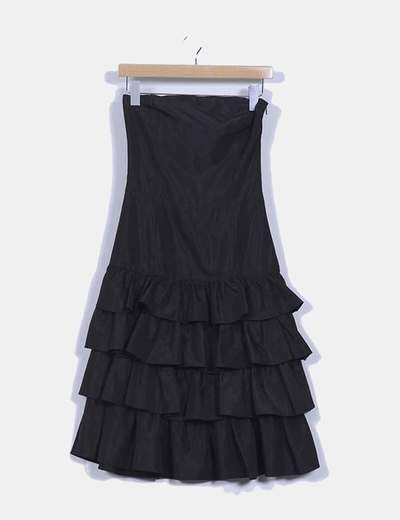 Vestido maxi avolantado de palabra de honor negro