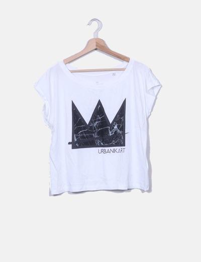 T-shirt blanc imprimé Urbanikart URBANIKART