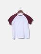 Camiseta blanca mangas burdeos Stradivarius