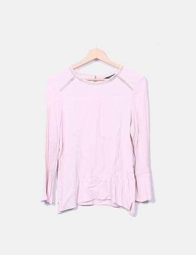 Blusa rosa detalles encaje