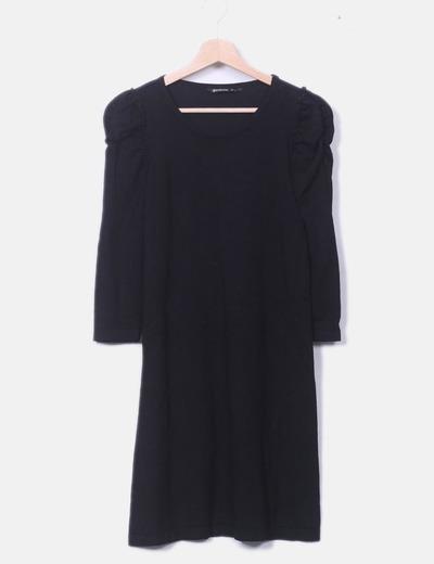 Vestido negro tricot detalle hombros