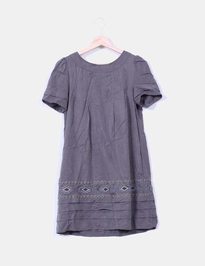 Vestido gris marengo con pedrería Good Look