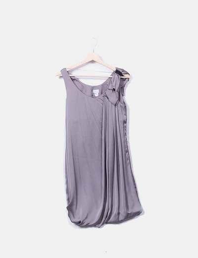Vestido abullonado satén gris